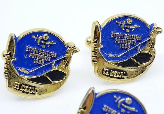 El Bekal Shriners Cufflinks Set w Tack Pin Vintage 1985 Potentate Gondola Blue