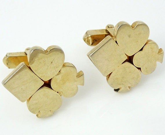 Swank Vintage 1940s 50s Cufflinks Poker Playing Ca