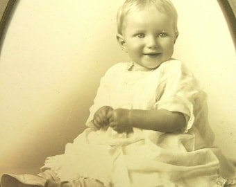 Vintage Baby Photo Portrait B&W Blond Smiling White Dress Christening Gown?