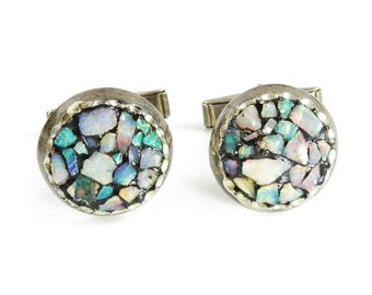 Vintage Sterling Silver Cufflinks Round Faux Opal Nuggets Colorful Cuff Links