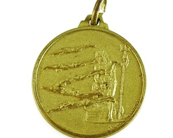 Poseidon Swimming Diving Sports Medal d.m. Randoli Vintage Blank Back