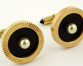 Krementz Cufflinks Vintage Round Black Faux Pearl