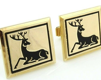 Deer Vintage Cufflinks Christmas Reindeer Animal Cuff Links