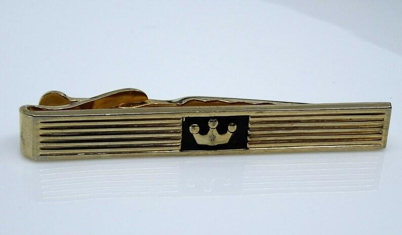 Crown Tie Clip Bar Vintage Swank Goldtone Mens Jewelry