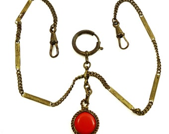Antique Double Albert Pocket Watch Chain w Double-Sided Fob Charm Red and Yellow