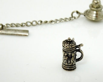 Sterling Silver Stein Tie Tack Lapel Pin Vintage