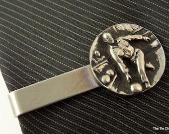 "Bowler Relief Vintage Tie Clip Bar Clasp Bowling 1.75"" 4.5cm Silver Tone"