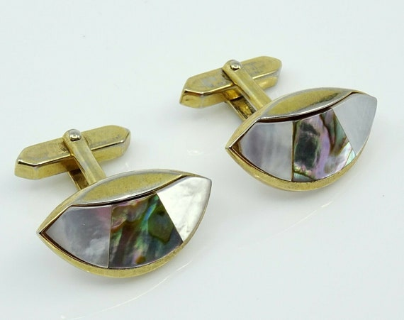 Art Deco SWANK Abalone Shell Cuff Links Cufflinks Vintage Jewelry Vintage Cufflinks Men/'s Cufflinks Gifts for Men Gifts for Dad