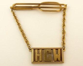 Letters HCW Initials Monogram Jewelry Vintage Swank Tie Chain