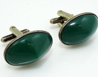 Green Oval Cufflinks Vintage Rivoli