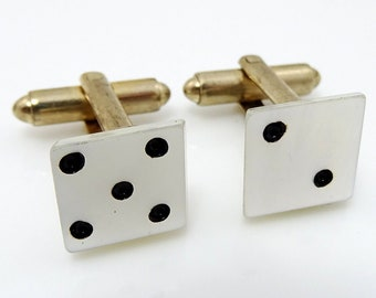 Dice Cufflinks Mother-of-Pearl White Cuff Links Vintage
