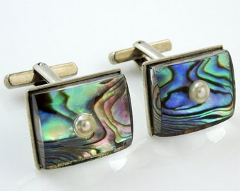 Abalone Lucite Cufflinks Vintage Faux Pearl