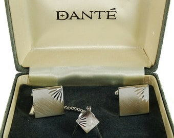 Dante Vintage Cufflinks Set with Tie Tack Pin Silvertone Square Formal Groom Box