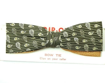 Royal Vintage Clip On Bow Tie 1950s Yellow Gold Stripe Paisley Woven