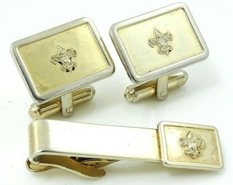 Vintage Boy Scouts Cufflinks Set with Tie Clip BSA Scouting Cuff Links