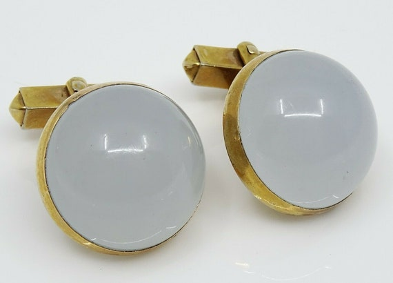 Swank Vintage Cufflinks Round Light Gray Grey Luci