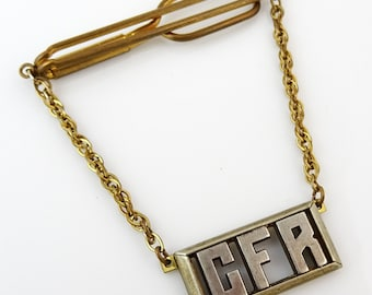 Swank Vintage Tie Chain 1940s Sterling Silver Letters CFR Initials Monogram