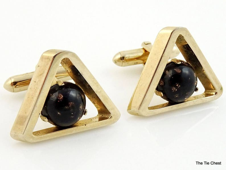 37649670412e Vintage Swank Cufflinks Triangular Black Speckled Stone | Etsy