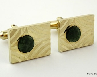 Vintage DANTE Cufflinks Gold Tone Jade Green Cuff Links