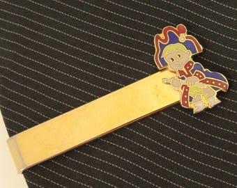 """Vintage Tie Clip Bar Clasp Young Patriot Enamel Gold Tone 1.75"""" 4.5cm"""