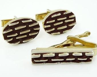 Vintage Chunky Textured Cufflinks and Tie Clip Bar Dark Brown Goldtone