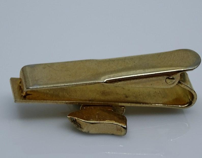 Swank Vintage Tie Clip Bar Knight Red Stone Goldtone