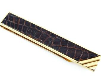 "Swank Vintage Tie Bar Brown Alligator-Grain Leather 1950s Vintage 2 3/4"""