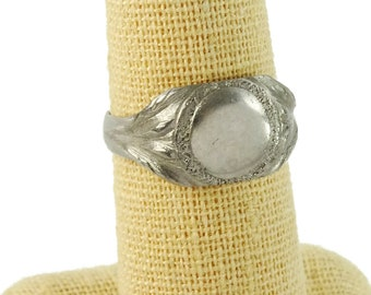Vintage Signet Ring Blank Unengraved Size 7 Mens Pinky Ring
