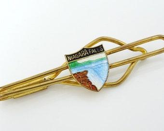 Vintage 1930s Tie Bar Clip Niagara Falls Souvenir Enamel Shield Canada