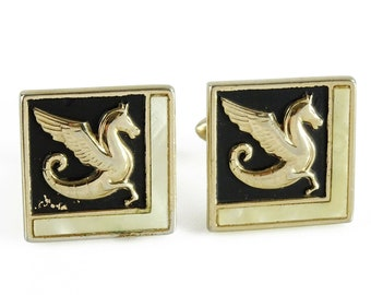 Swank Vintage Cufflinks Winged Horse Square Cuff Links
