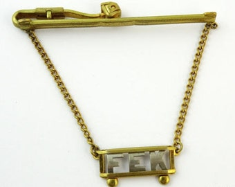Letters FEK Initials Mongram Jewelry Vintage Tie Chain Nu-Lok
