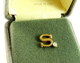 Letter S Initial Mens Vintage Tie Tack Pin with Tiny Genuine Diamond in Gift Box