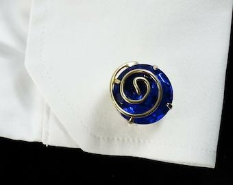 Vintage Cufflinks Blue Stone Round Swirl Chunky Cuff Links