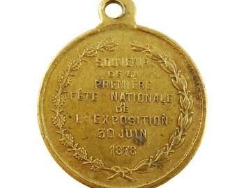 1878 Paris World's Fair Souvenir Medal Antique Pendant Universal Exposition