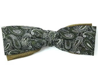 Royal Vintage Clip On Bow Tie 1950s Green Silver Paisley Woven Bowtie