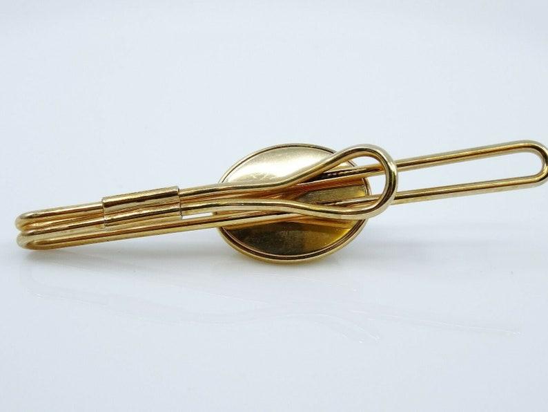 Vintage Tie Bar Clip Art Deco Style Gray Glass Stone Cabochon