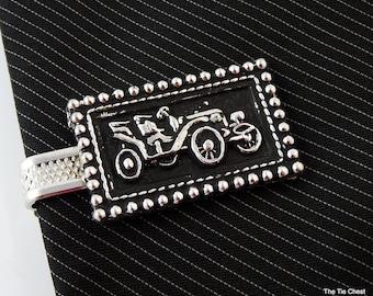 """Vintage Tie Clip Bar Old Car Automobile Silver Tone Black 1.75"""""""