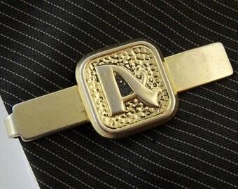 """Vintage Tie Clip Bar Letter A Initial Gold Tone  2"""" 5cm"""