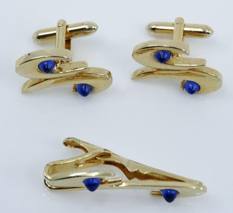 Swank Vintage Cufflinks Set with Tie Clip Bar Blue Goldtone Mod Cuff Links