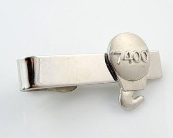 """Hook 7400 Advertising Vintage Tie Clip Bar Robbins Co Silver Tone 1.5"""" 4cm"""