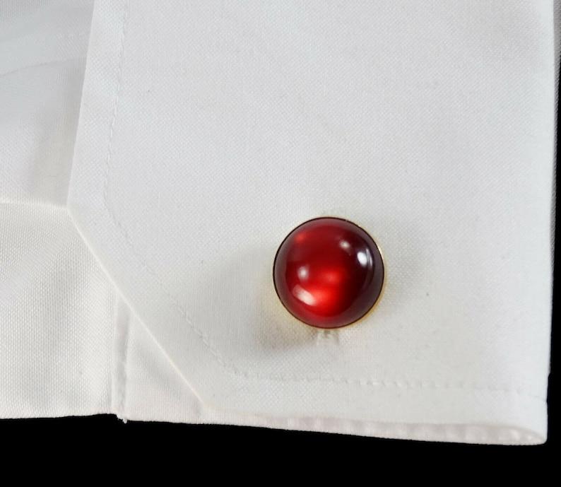 Vintage Red Cufflinks 1940s 50s Moonglow Lucite Round Cuff Links