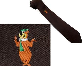Yogi Bear Vintage Tie Brown Woven Necktie Hanna-Barbera 1980s