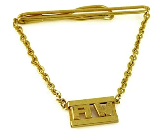Swank Vintage 1930s Tie Chain Letters AW Initials Pendant