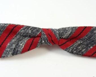 Vintage Clip-On Bow Tie Arrow Gray Red