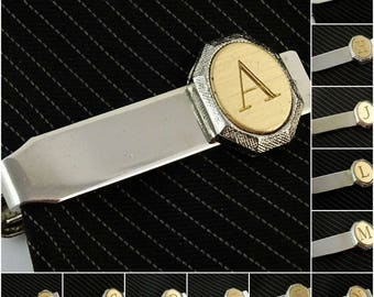 """Vintage Tie Clip Bar Silver Tone Letter Initial Personalized 1.25"""""""