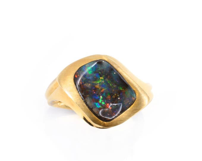Australian Bold Opal, set in 18ct yellow gold . Hand-carved.