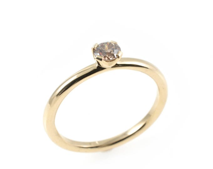 21pt Diamond ring, champagne diamond  C1/VS, 10K yellow gold solid.Delicate simplicity, sturdily hand made.