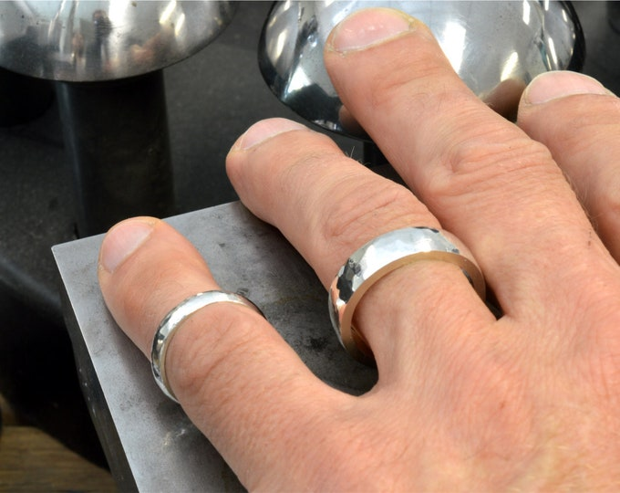 Hammer strike silver ring. Great for a tradie, a good knockabout ring, made in solid sterling silver.Available to order in gold or platinum.