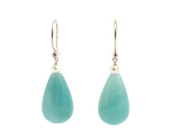 Amazonite drops,natural stones,fresh-water pearsl, sterling silver dangle earrings.