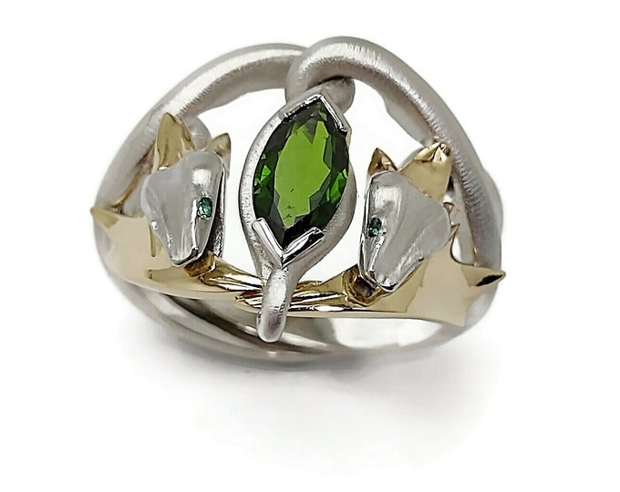 Serpent King:9KW gold & 9KY gold solid, natural Tourmaline Nephrite Peridot Garnet or synthetic Emerald Ruby. Price includes post insurance